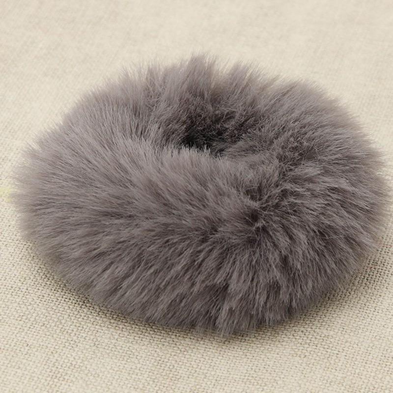Модная эластичная резинка из искусственного кроличьего меха для девочек, резинка для волос, держатель для хвоста, эластичная плюшевая повязка для волос, кольцо, аксессуары для волос - Цвет: CE