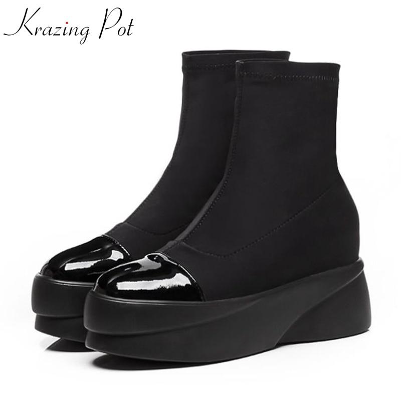 Krazing Pot genuine leather flock lycra basic boots platform punk rock designer round toe slip on