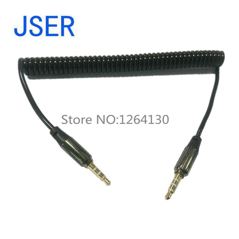 NEW 3.5mm Aux Cable Gold Plated 3.5 MM male to male spring telescopic aux car audio line for iphone/Samsung/HTC