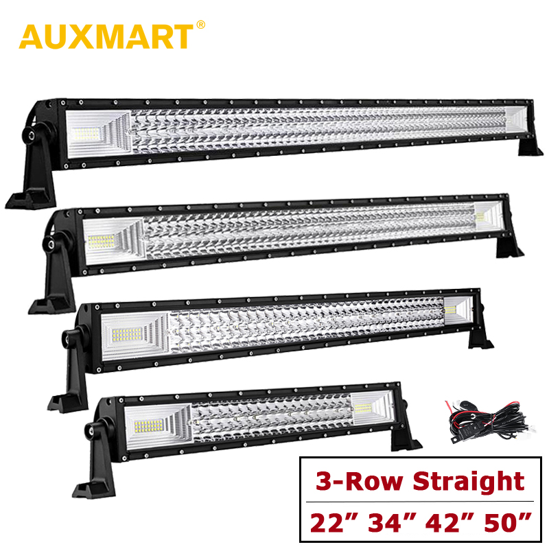 AUXMART 22 34 42 50 3-Row LED Light Bar Offroad Spot + Flood Combo Driving Work Light for Truck Trailer 4X4 4WD ATV SUV 12V auxmart 5d curved led light bar 22 200w spot flood combo beam led bar offroad 4x4 4wd atv utv truck trailer boat van 12v camper