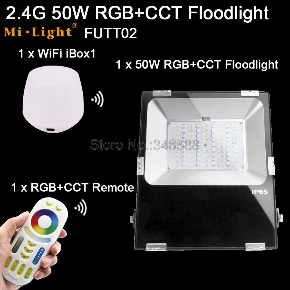 1x Mi.Light 50W RGB+CCT Floodlight AC 110V 220V Input FUTT02 +1x WiFi IBox1 Lamp +1x 2.4G Wireless RF 4-Zone Touch Remote