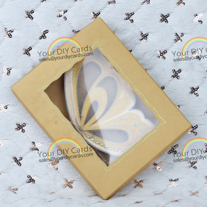 Wedding invitation card Butterfly Theme Yellow Gold Scroll With ...
