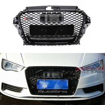 1Pcs Car Racing Grille For Audi A3 Grill RS3 S3 Quattro 2013-2016 2015 Emblems Radiator Chrome Front Bumper Modify Mesh Henycomb grille