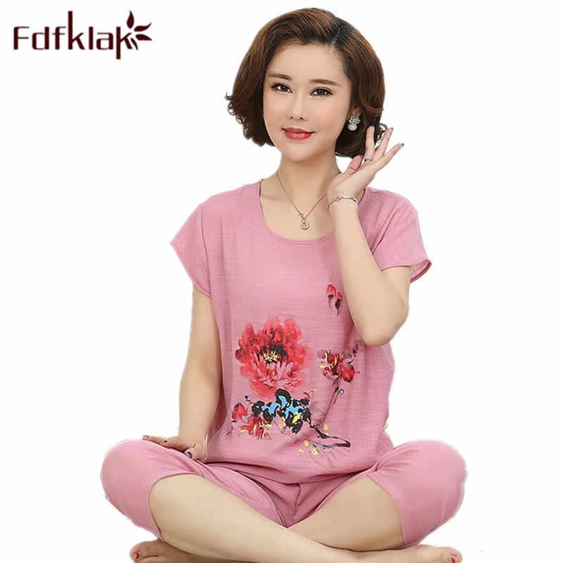 Fdfkalk XL XXL 3XL 4XL Large Size Woman Pijamas Summer Short Sleeve Cotton Linen Pijamas Pyjamas Women Sleepwear Pyjamas Q1015