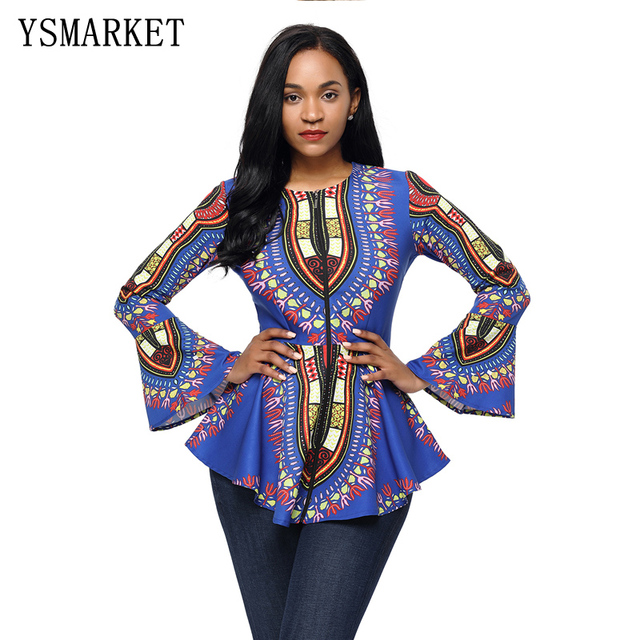 d6140c3a7ae Women African Print Zipper Front Flare Long Sleeve peplum defined waist Top  Ruffles Hem Cloth E250372