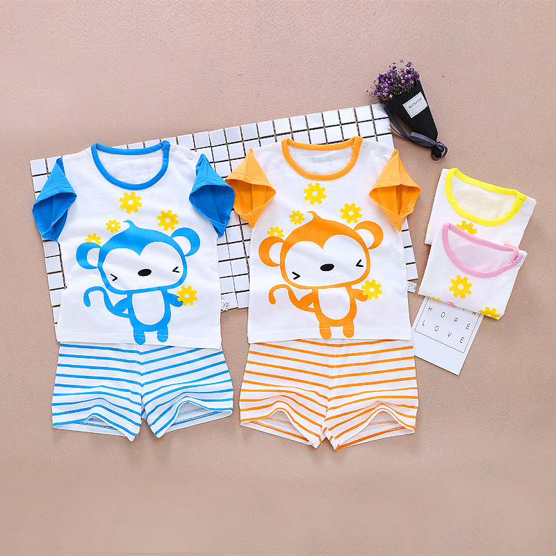 2017 new summer Baby Short suit combed cotton jersey shoulder neck mouth monkey acrobatics trendy baby suit 2016 new summer baby sport suit 100