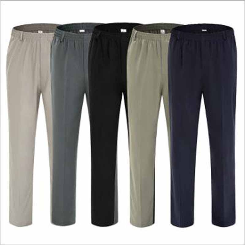 Summer Thin Section Casual Pants Men Silk Men's Trousers Extra Large Size High Waist Elastic Waist Dad Pants Men Clothes 2018