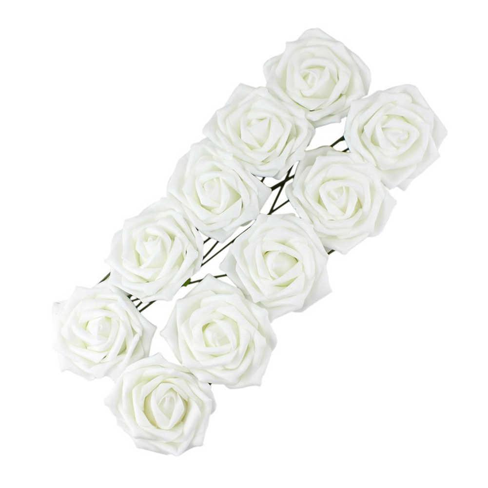 1 Bunch ประดิษฐ์เจ้าสาว Rose ดอกไม้ปลอมสวยงามงานแต่งงานสวนหน้าแรกช่อดอกไม้ตกแต่งสีขาว