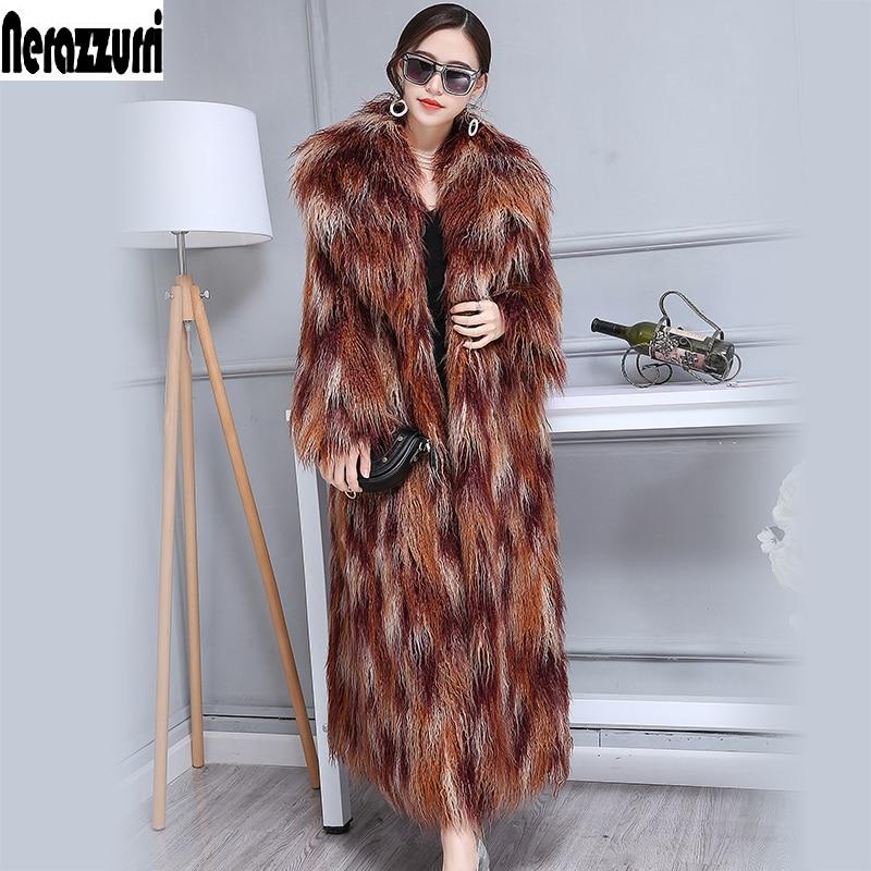 Nerazzurri Winter Faux Fur Coat Women 2019 Extra Long Colorful Shaggy Hairy Maxi Plus Size Mongolian