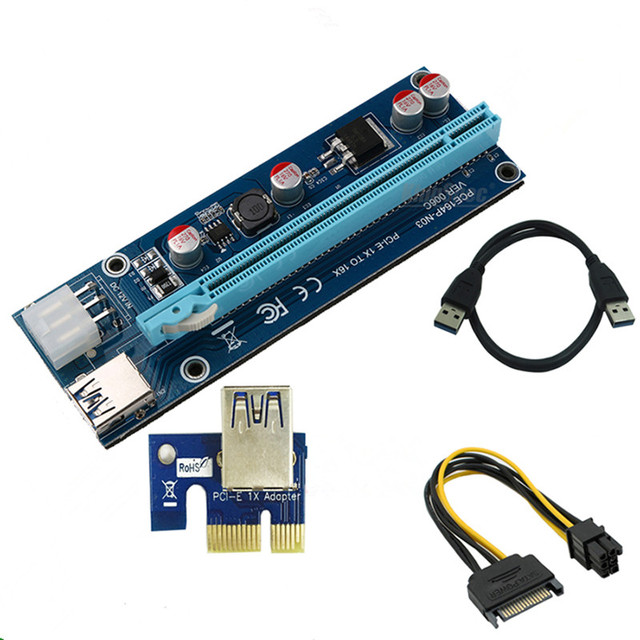 New Pci E Express Riser Card 1x To 16x Usb 3 0 Data Cable