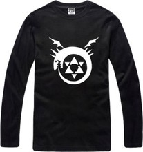 New Men's long sleeve T shirt Fullmetal Alchemist Cosplay Cotton Top Casual Hooded Fashion