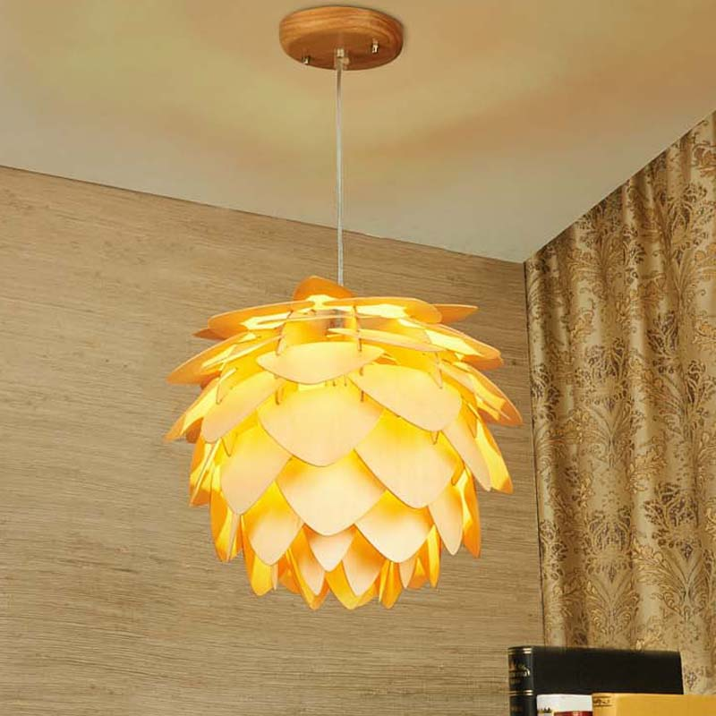 New Pinecone Pendant Lights Nordic Wood Wooden Home Living room Dining Room Cafe Restaurant lighting Pendant light-in Pendant Lights from Lights & Lighting    3