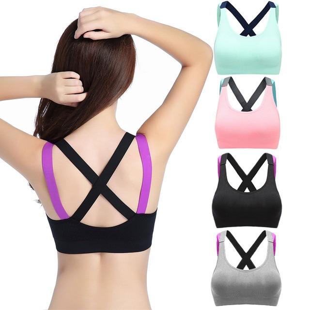 a8929f716d Summer Cross Strap Beauty Back Yoga Bra with No Rim Fitness Running  Shockproof Sports Bra Underwear