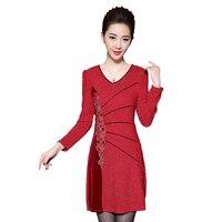 Новинка 2017 года Для женщин платье с длинным рукавом вышитые Мать поставить Платья для женщин красного золота 8617