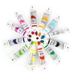 12 kolorów 12 ML profesjonalne farby akrylowe zestaw ręcznie malowane obraz ścienny farba tekstylna Brightly Colored Art dostawy Dropship w Wkłady do malowania według wzoru od Dom i ogród na