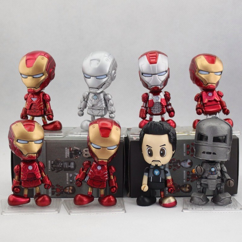 ФОТО Iron Man Bobblehead  Tony Stark MK1 - MK7 8cm PVC Shake head doll Action Figures Collection Model Toys