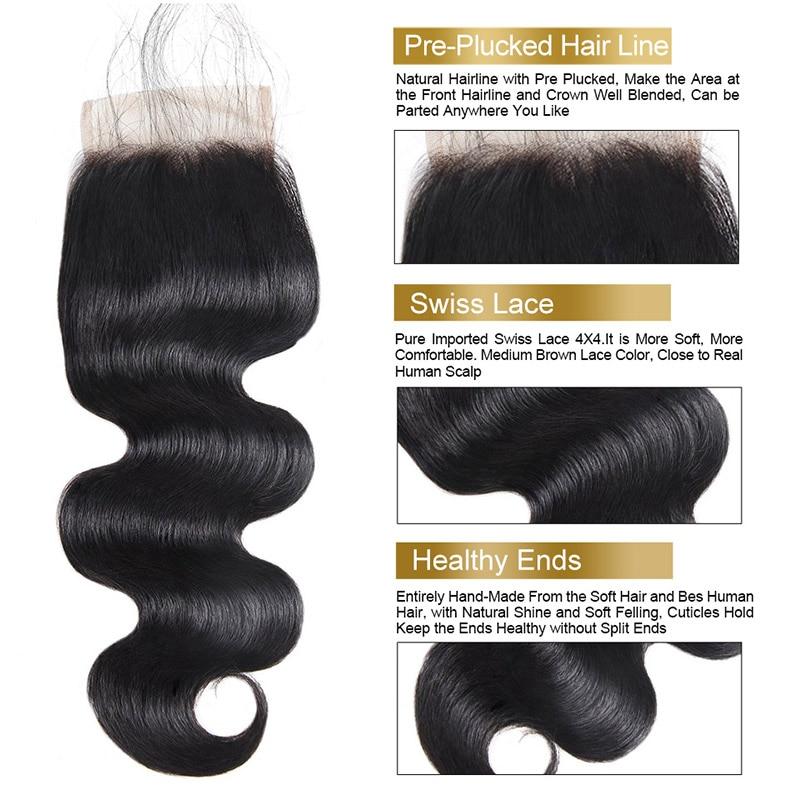 Funmi Unprocessed Virgin Hair Bundles with Closure Malaysian Body Wave Bundles with Closure Middle Part Natural Hair Extensions