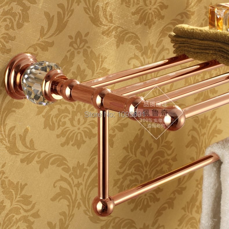 Luxurious Brass Crystal Rose Gold Plating Towel Rack towel Shelf with  Bar towel Holder Bathroom accessories. Free shipping brass crystal gold plating towel shelf with bar