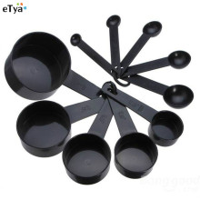 Мерные чашки и ложки для выпечки, черные пластиковые половники, посуда, набор инструментов, кухонные принадлежности, мерные ложки, весы