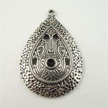 15PCS Antiqued Silver Tone Alloy Teardrop Pendant Charms Earring Finding 40*28*2MM Wholesale(China)
