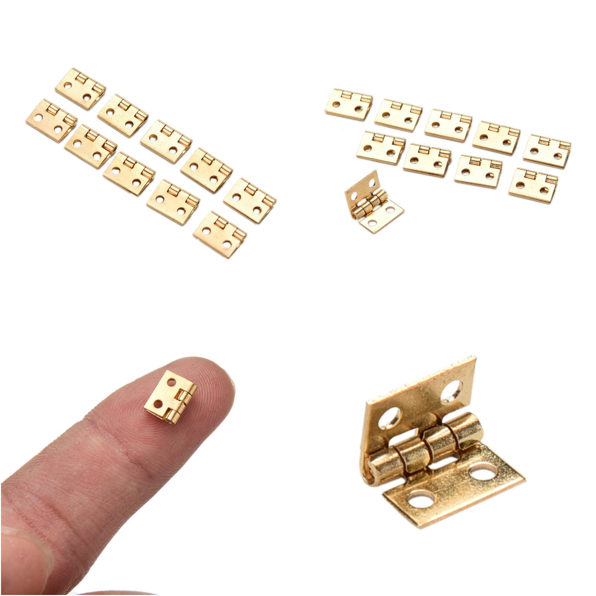 10 Pcs/lot 10*8MM Mini Cabinet Drawer Hinge Butt Hinge Copper Gold 4 Small Small Hinge Hole Hand Tools Hardware