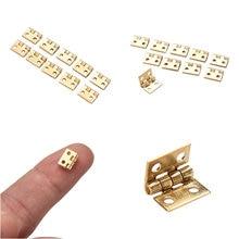 10 шт./партия, 10*8 мм, мини-петля для ящика шкафа, Стыковая петля, медное золото, 4 маленькие петельные отверстия, ручные инструменты, аппаратные средства