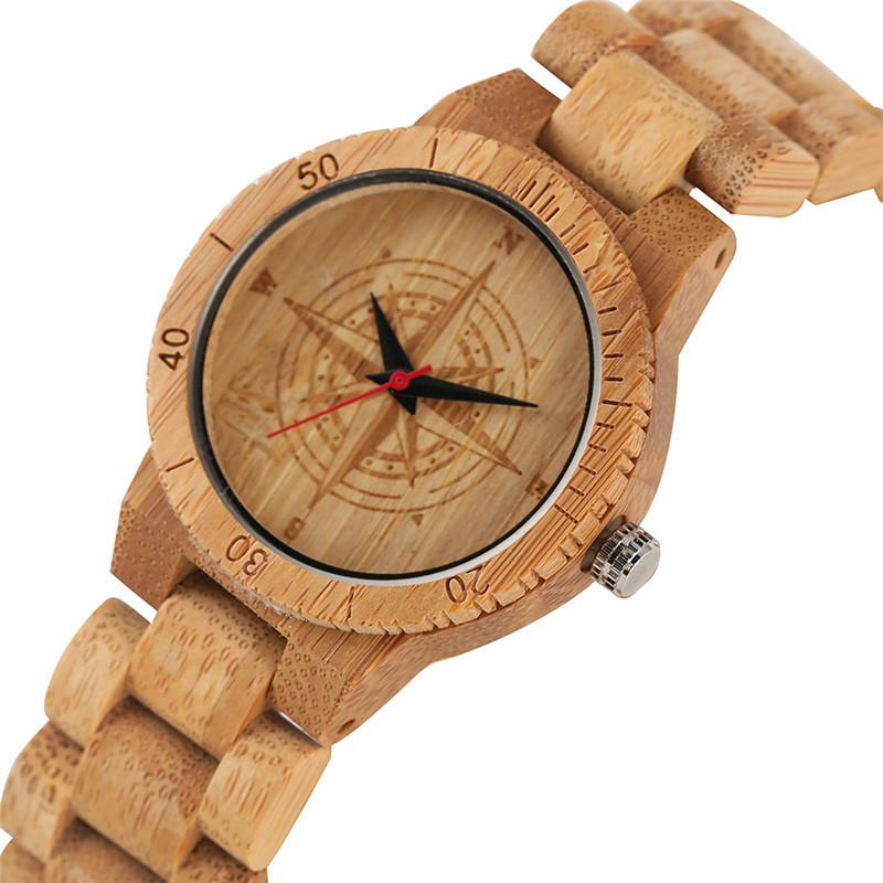 Casual Eco-friendly Nontoxic Bamboo Watch For Women Men Creative Quartz Watch Movement All Bamboo Natural Wood Wristwatch