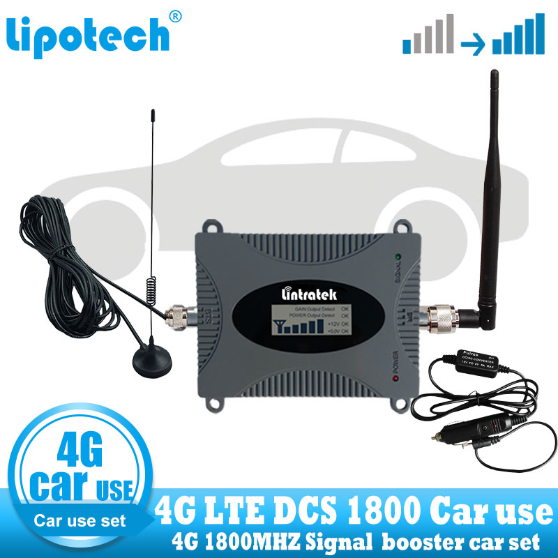 Lintratek Car Use 4g Lte Signal Booster Dcs 1800 Mhz Repeater Gsm 4g Mobile Cell Phone Repeater Cellular Communication Amplifier