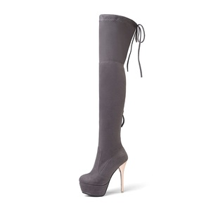 Image 5 - MORAZORA 2020 New fashion women boots flock leather platform over the knee boots zip autumn winter high heels thigh high boots