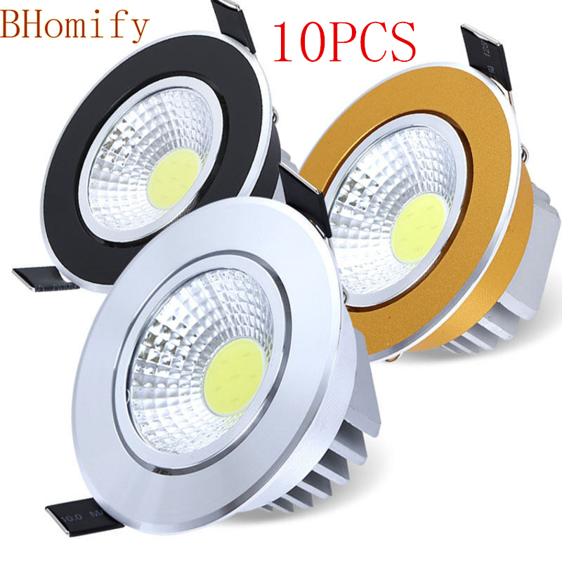 10X Super Bright Dimmable Led downlight light COB Ceiling Spot Light 3w 5w 7w 12w AC110V/220V 85-265Vrecessed Light Indoor Light