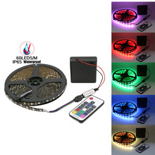 5V RGB Led Strip 5050 Waterproof/Non Waterproof Battery Operated Backlight TV Fita de Diode Stripe +Mini RF Remote Controller
