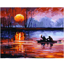 RIHE Flaming sunset lake-DIY Oil Painting by numbers, Modern Wall Art Picture,paint numbers kit for Kids&Adults,Acrylic Paint