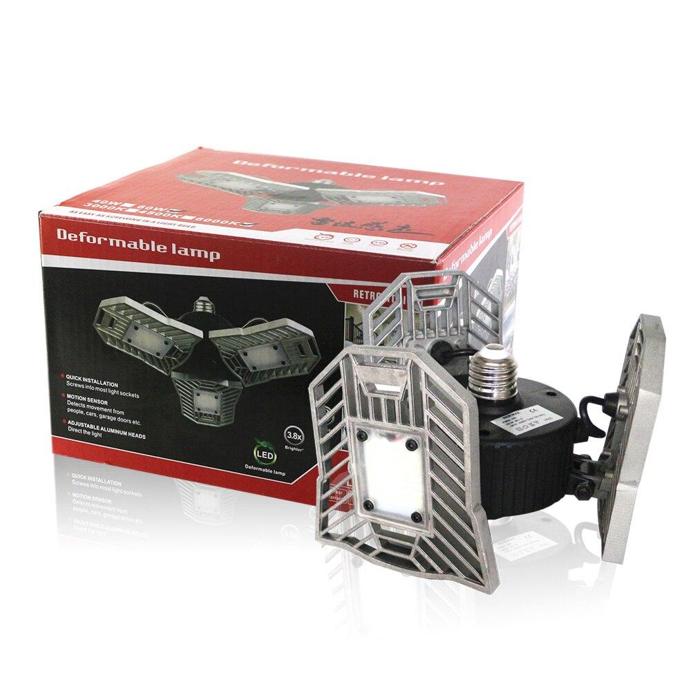 E27 Head Led Deformable Lamp 60W High Intensity 6000LM Radar Sensor LED Light Studio Gar ...