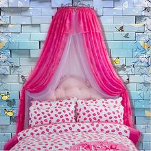 New Luxury palace princess mosquito net pink bed mantle curtain valance insect screen lace hollow wrought iron frame