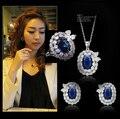 Lujo royal blue stone AAA gran anillo de circón pendientes y collar de la astilla plateó princesa sistema de la joyería (JS91870)