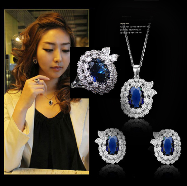 Luxury royal blue stone AAA great zircon ring earrings and necklace sliver plated  princess jewelry set (JS91870)