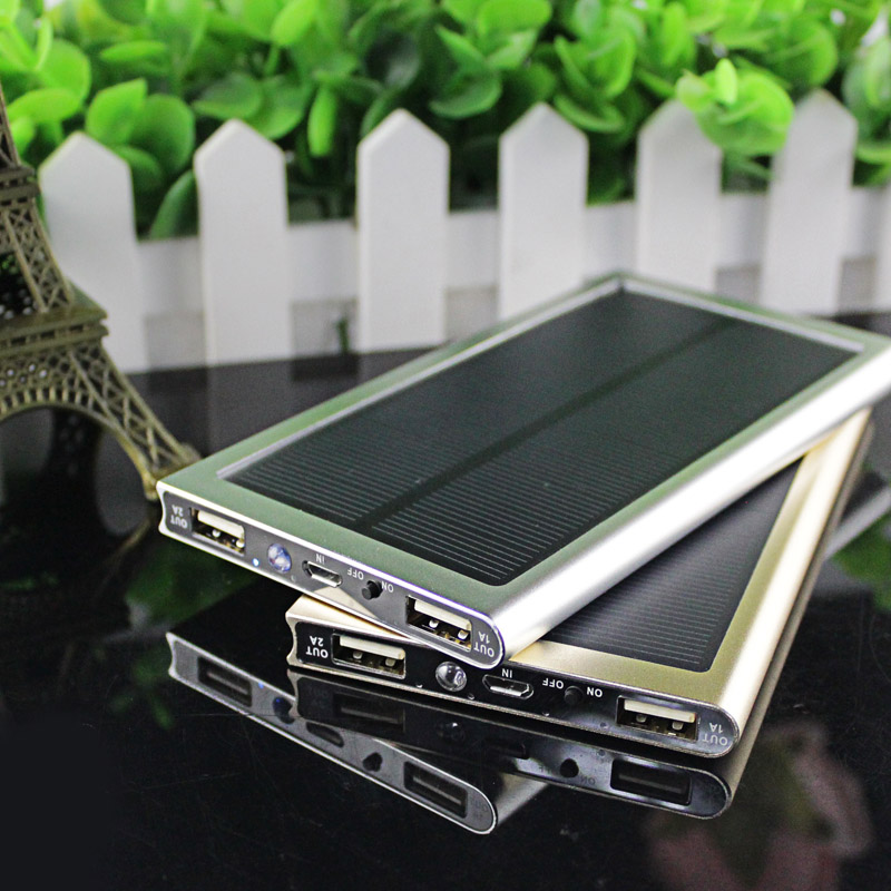 Ultra thin Solar Power Bank 12000mah Dual font b USB b font Metal Case Li Polymer