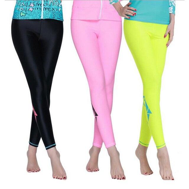 190d88b373 Womens Rashguard Long Pants Surf Wetsuit Wakeboard Yoga Fitness Sports  Leggings 2017 New Upf 50+ Tights Swim Pants Jammers