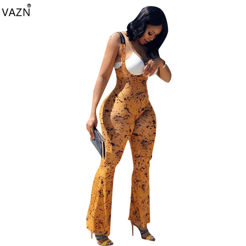VAZN 2018 summer hot sales print flare leg jumpsuits women regular sleeveless o-neck jumpsuits ladies hollow out jumpsuits S667