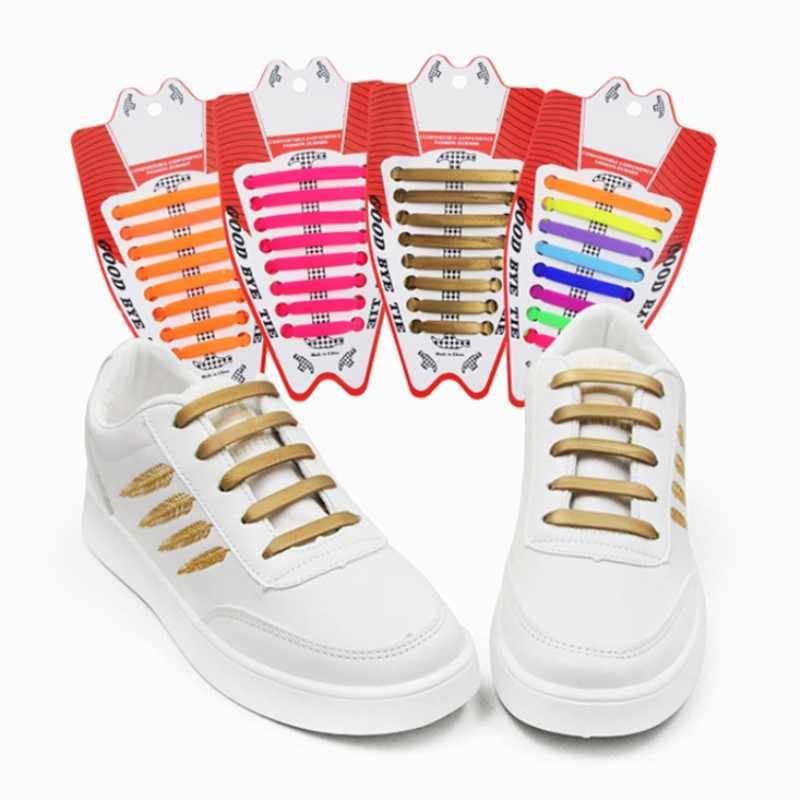 16 ชิ้น/เซ็ตใหม่ Unisex ผู้ใหญ่ไม่มีนักกีฬาไม่มีเชือกผูกรองเท้าซิลิโคน Shoelaces รองเท้าผ้าใบทุกสายคล้องพอดีรองเท้ารองเท้าลูกไม้ 2019 ใหม่