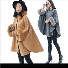 Winter New Korean Version Imitation Fox Fur Collar Long Section Woolen Coat Cloak Cape Women's Winter Jacket Female Jacken HJ22(China)