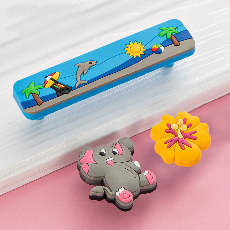 Cute Knobs and Handles Children Colorful Cartoon Furniture Handle Plastic Door Knob Kids Drawer Pulls Cabinet Handle Safe