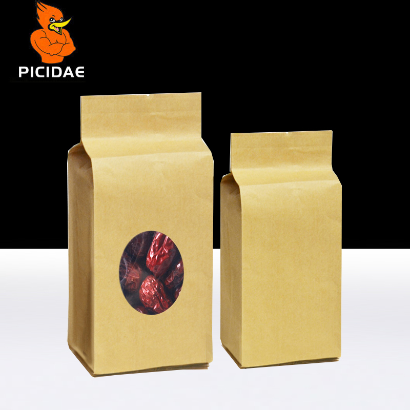 Janela De selagem Térmica de Volta saco De Armazenamento de papel Kraft Embalagem de alimentos Lanche Grãos e cereais de chocolate chá porca fivela Lateral Transparente do órgão