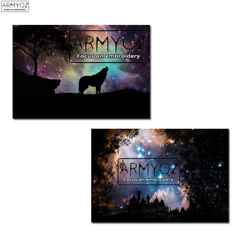 Diamond Embroidery Painting 3D Full Drill Diamond Mosaic Cross Stitch Starry Sky&Wolf Full Pasted Painting DIY Decor Crafts
