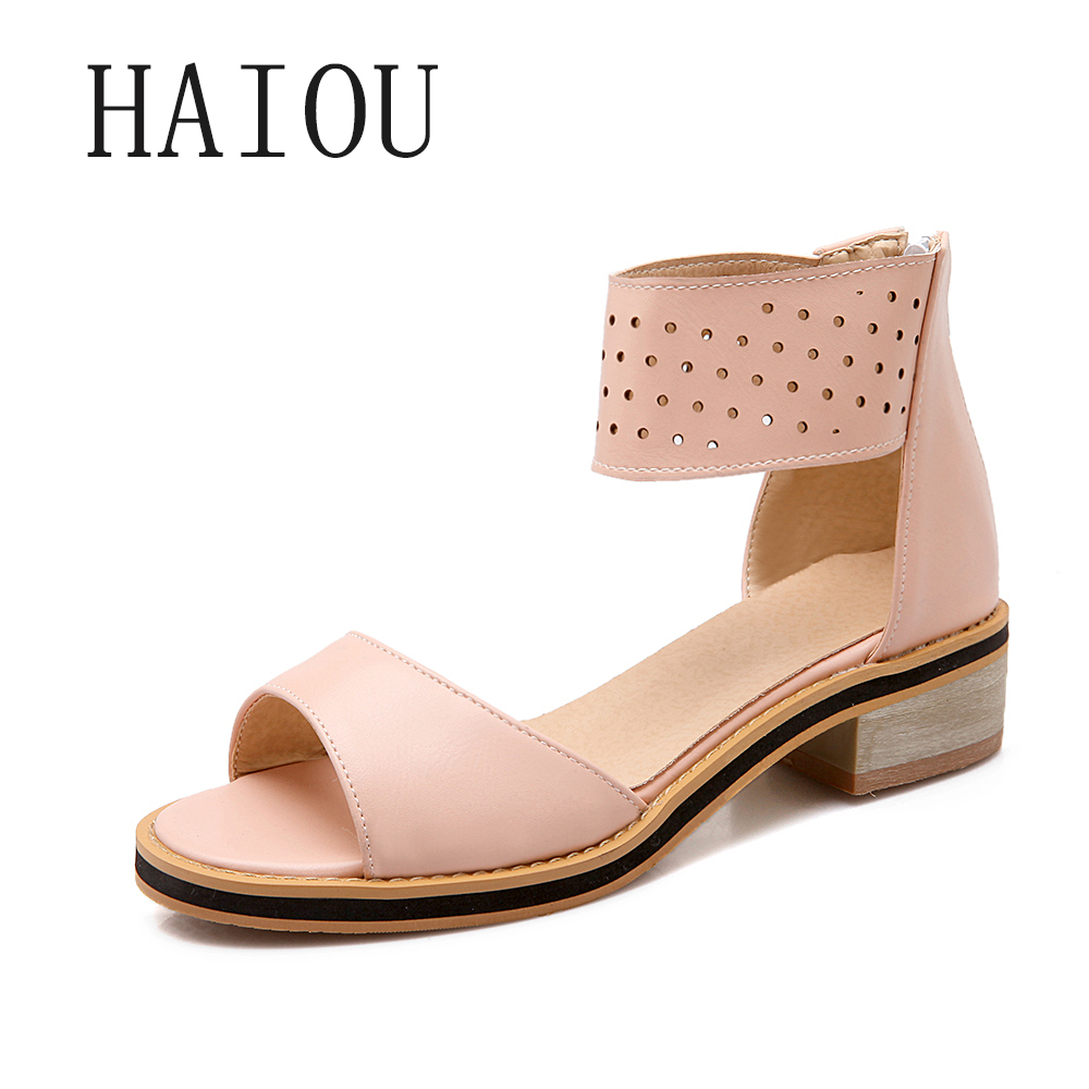 2017 Fashion Womens Pink Sandals with Heels Bohemian Shoes Low Heels Sandals Open Toe Ladies Chunky