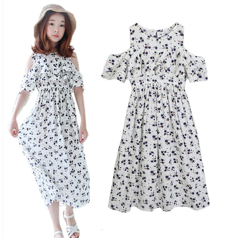 4 to 14 years kids & teenager girls summer cutout shoulder flower print causal beach maxi dress children fashion long dresses