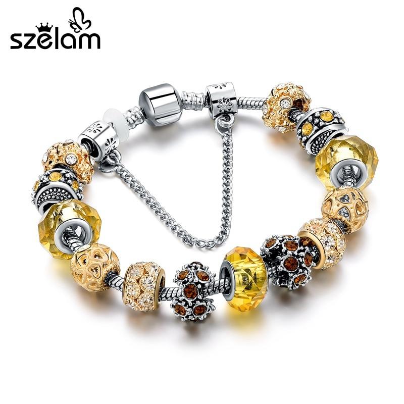 Szelam 2019 Pulseras y brazaletes con dijes de oro europeos Pulseras de cuentas de cristal de bricolaje para mujeres Pulseras SBR160157