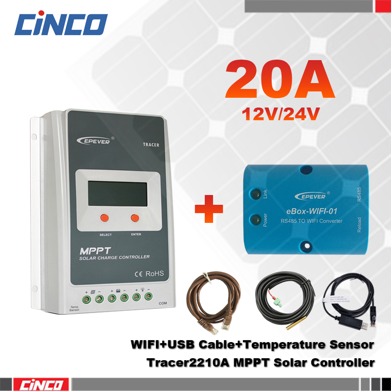 Tracer2210AN 20A 12V 24 100V MPPT solar charge controller with eBOX WIFI and USB communication cable