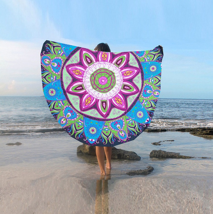 Supply Quality Round Silk Sunscreen Digital Printed Beach Towel St06-13