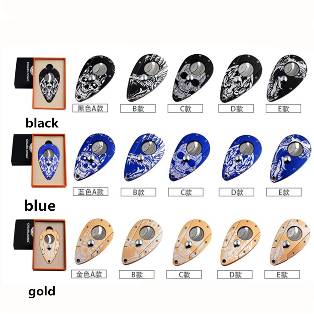 1PCS Double Blades Gold Guillotine Cigar Cutter Pocket Knife Scissors Stainless Steel With Beautiful Packaging Various Patterns dual blades stainless steel pull type pocket cigar cutter knife silver grey